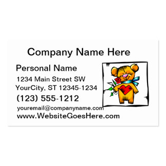 teddy bear holding roses graphic love business card template