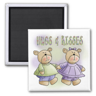 Teddy Bear Hugs and Kisses Tshirts and Gifts Square Magnet