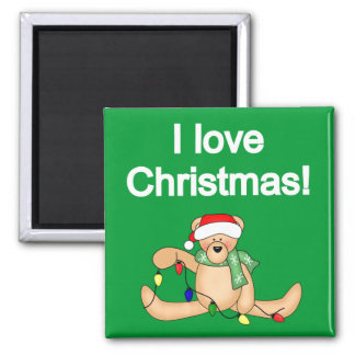 Teddy Bear I Love Christmas Tshirts and Gifts Square Magnet