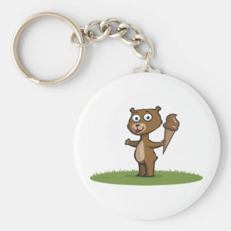 Teddy Bear Ice Cream Basic Round Button Key Ring