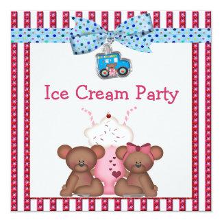 Teddy Bear Ice Cream Party 13 Cm X 13 Cm Square Invitation Card