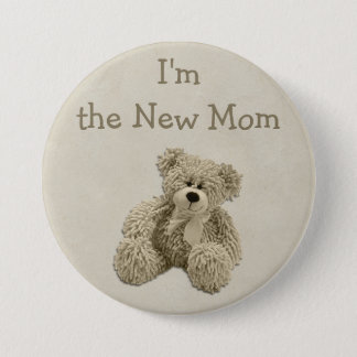 Teddy Bear I'm the New Mom Baby Shower 7.5 Cm Round Badge