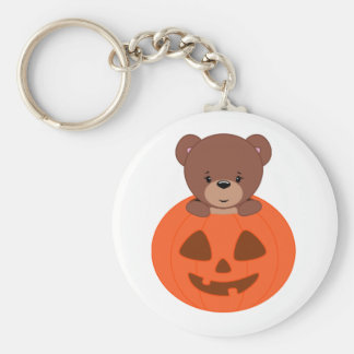 Teddy Bear In A Pumpkin Key Ring