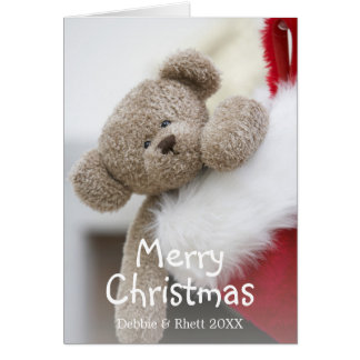 Teddy bear in Christmas stocking Greeting Card