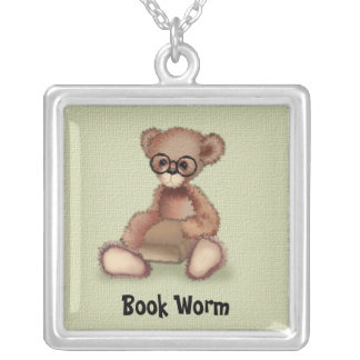 Teddy Bear in Glass Book Worm Necklace