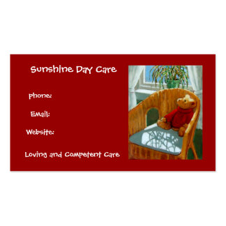 Teddy Bear in Pastel Day Care Business Red Business Card