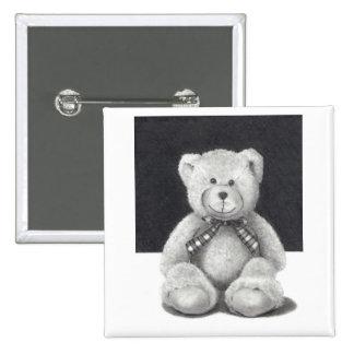 Teddy Bear in Pencil 15 Cm Square Badge