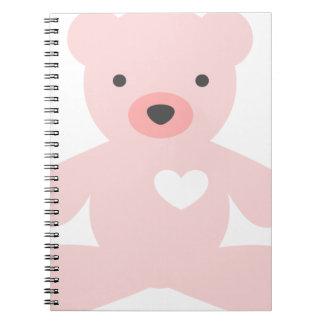 Teddy Bear in Pink Notebook