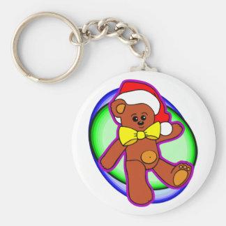 Teddy Bear In Santa Hat Keychain
