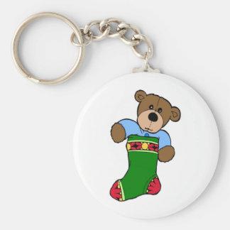Teddy Bear in Stocking - Keychain