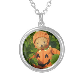Teddy Bear in the Pumpkin Patch Silver Plated Necklace