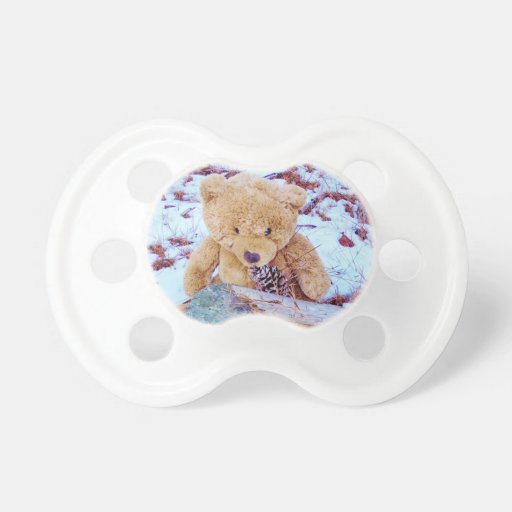 Teddy Bear in the Snow, denim blue tint Baby Pacifier