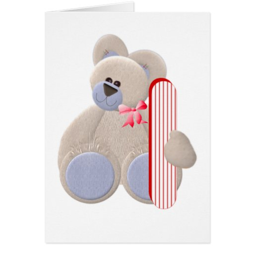 Teddy Bear Initial I Greeting Cards