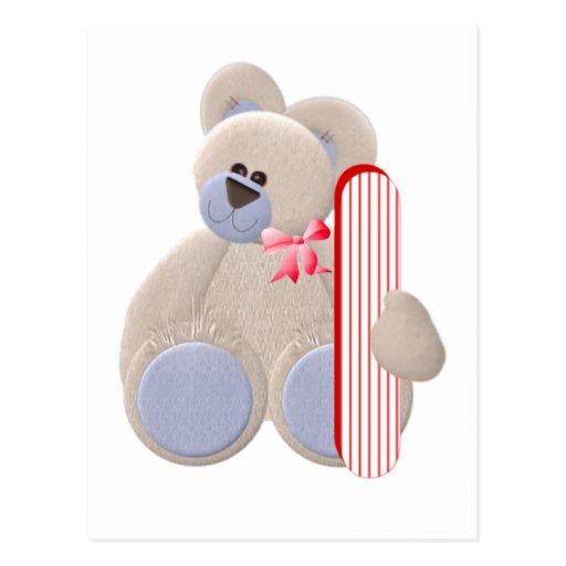 Teddy Bear Initial I Post Cards