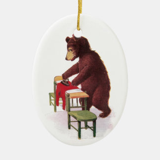 Teddy Bear Ironing Clothes Ceramic Oval Decoration