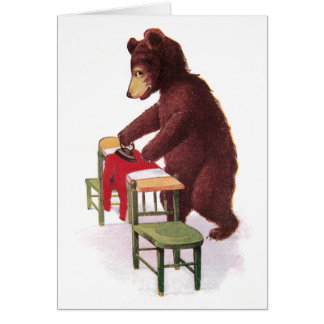 Teddy Bear Irons Clothes Greeting Card