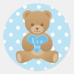 """Teddy bear """"It""""s a boy"""" blue sticker"""
