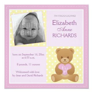 """Teddy bear """"It""""s a girl"""" announcement card"""