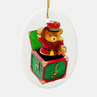 Teddy Bear JAck in the Box Christmas Ornament