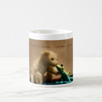 Teddy Bear Kissing Frog Mug, Never Change Basic White Mug