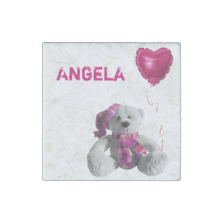 Teddy bear love baloon pink stone magnet