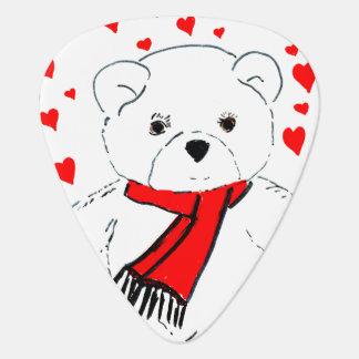 teddy bear love guitar pick