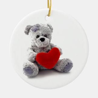 TEDDY BEAR LOVE HEART ROUND CERAMIC DECORATION