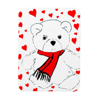 Teddy Bear Love - Red and White Rectangular Photo Magnet