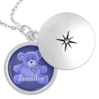 Teddy Bear Love Round Locket Necklace