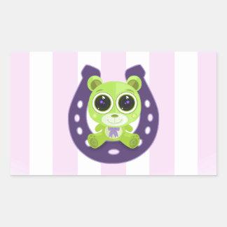 Teddy Bear - Lucky Green Rectangular Sticker