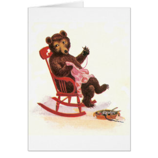 Teddy Bear Mends Clothes Greeting Card