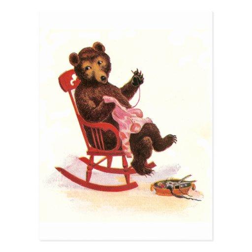 Teddy Bear Mends Clothes Post Card
