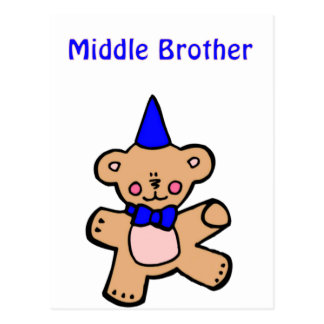teddy bear middle brother postcard
