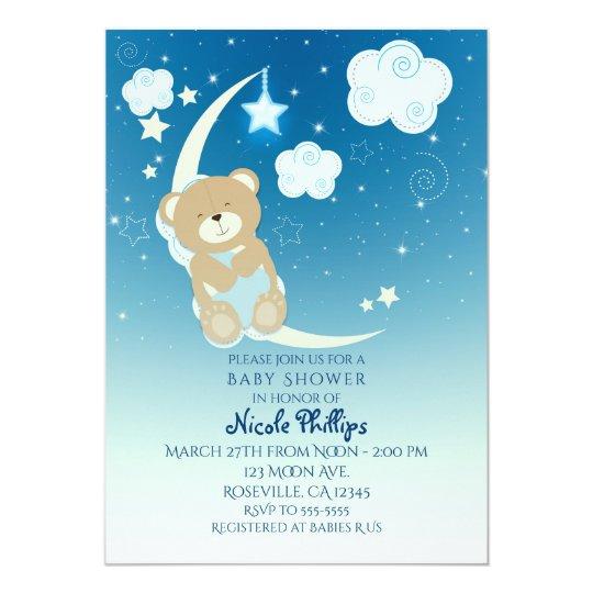 Teddy Bear Moon Stars Baby Shower Invitations Zazzle Co Uk