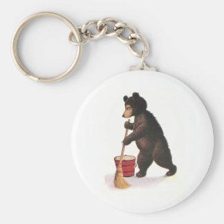 Teddy Bear Mops Floor Basic Round Button Key Ring