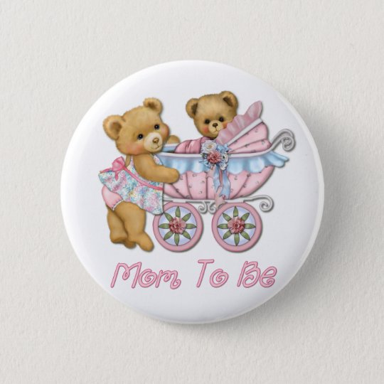 Teddy Bear Mum and Carriage - Pink 6 Cm Round Badge
