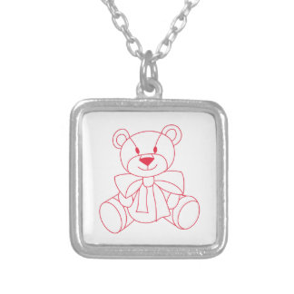 Teddy Bear Square Pendant Necklace