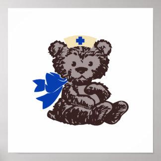 Teddy Bear Nurse Blue Poster