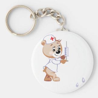 Teddy Bear Nurse Keychain Basic Round Button Keychain