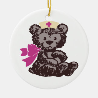 Teddy Bear Nurse (Pink) Christmas Ornament