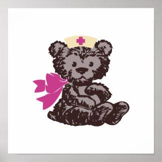 Teddy Bear Nurse Pink Print