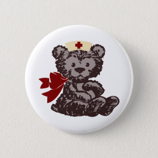 Teddy Bear Nurse (Red) 6 Cm Round Badge