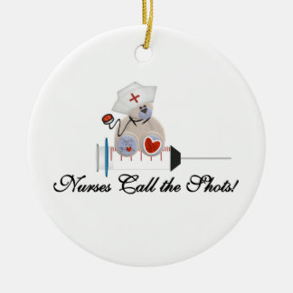 Teddy Bear Nurses Call the Shots T-shirts and Gift Round Ceramic Decoration