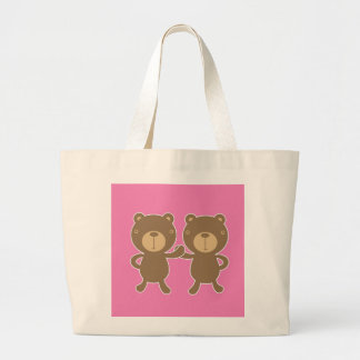 Teddy bear on plain pink background tote bags