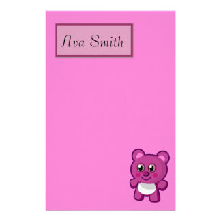 Teddy Bear On Purple Gingham Personalized Stationery