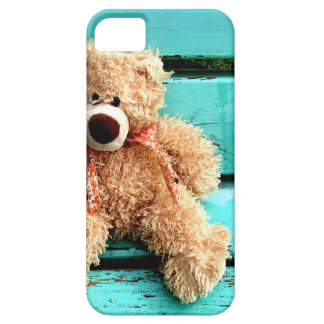 Teddy bear on turquoise background barely there iPhone 5 case