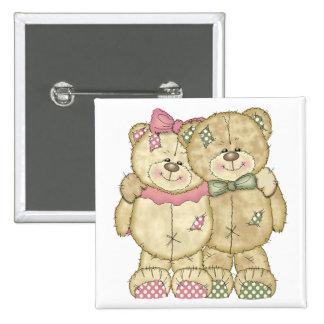 Teddy Bear Pair - Original Colors Button
