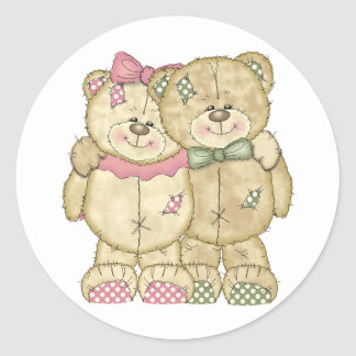 Teddy Bear Pair - Original Colors Round Sticker