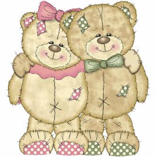Teddy Bear Pair - Original Colors Standing Photo Sculpture