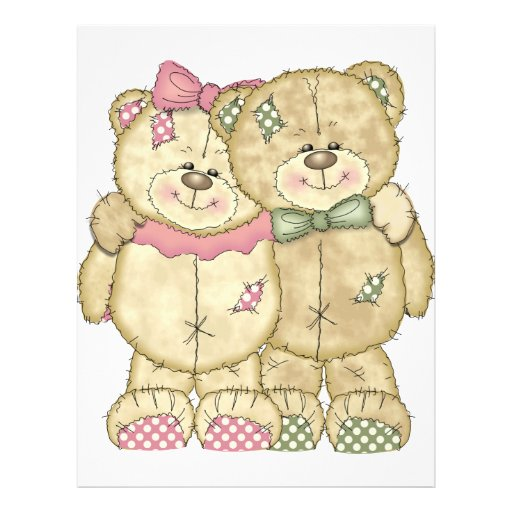 Teddy Bear Pair - Original Colours 21.5 Cm X 28 Cm Flyer